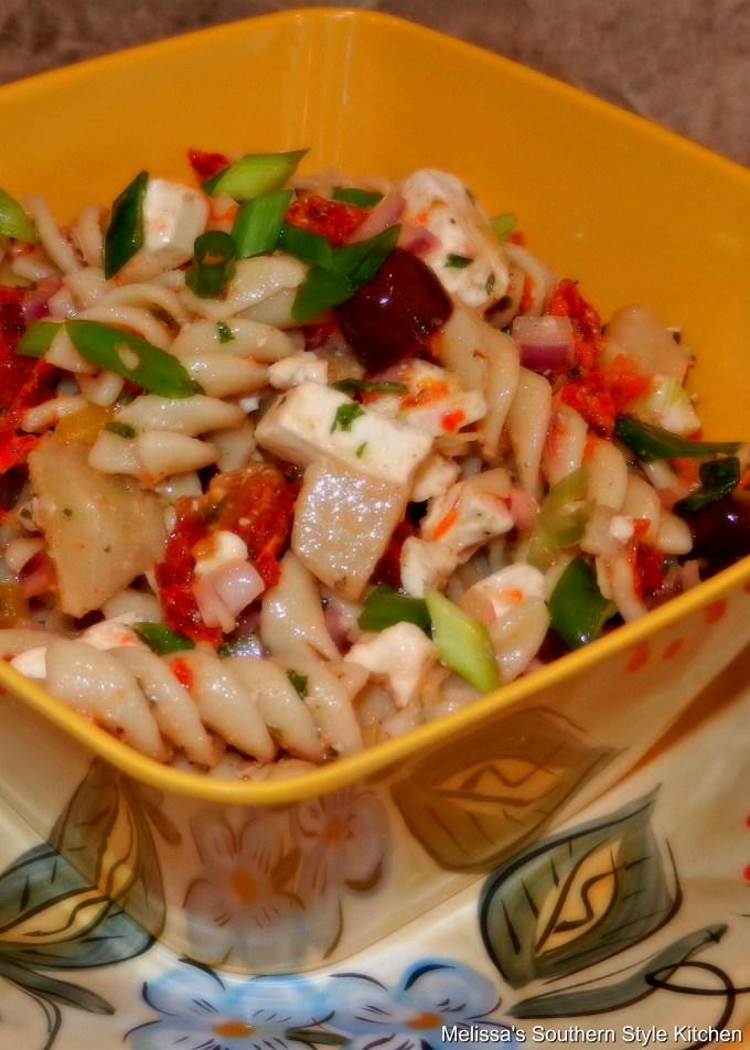 Greek Pasta Salad in a serving bowl