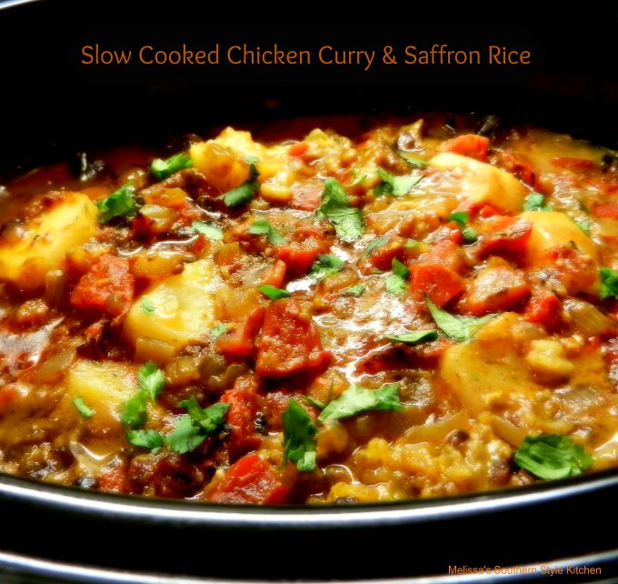 Slow Cooked Chicken Curry And Saffron Rice