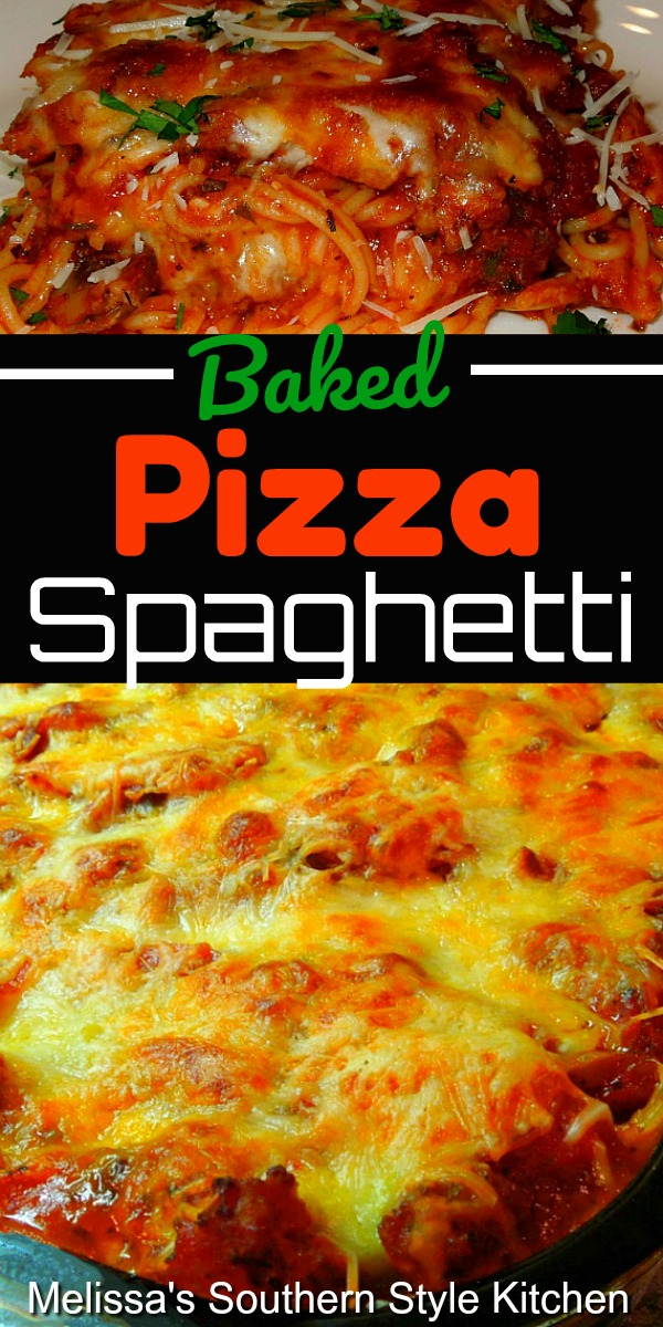 Baked Pizza Spaghetti is filled with beef, pepperoni, peppers, mushrooms and more #bakedspaghetti #spaghetti #pastarecipes #dinnerideas #dinner #food #casseroles #southernrecipes #southernfood