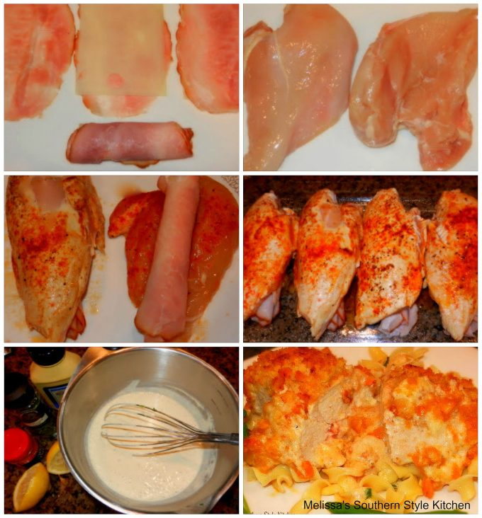 chicken, ham and cheese and step by step images for chicken casserole