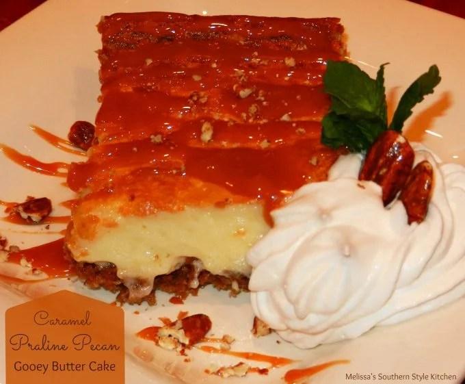 Caramel Praline Pecan Gooey Butter Cake