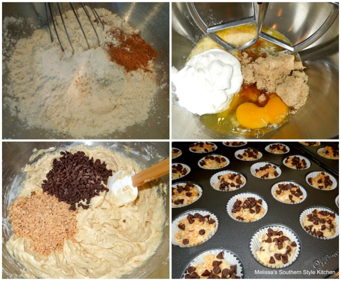 step by step images how to make Banana Choco-Toffee Mini Muffins