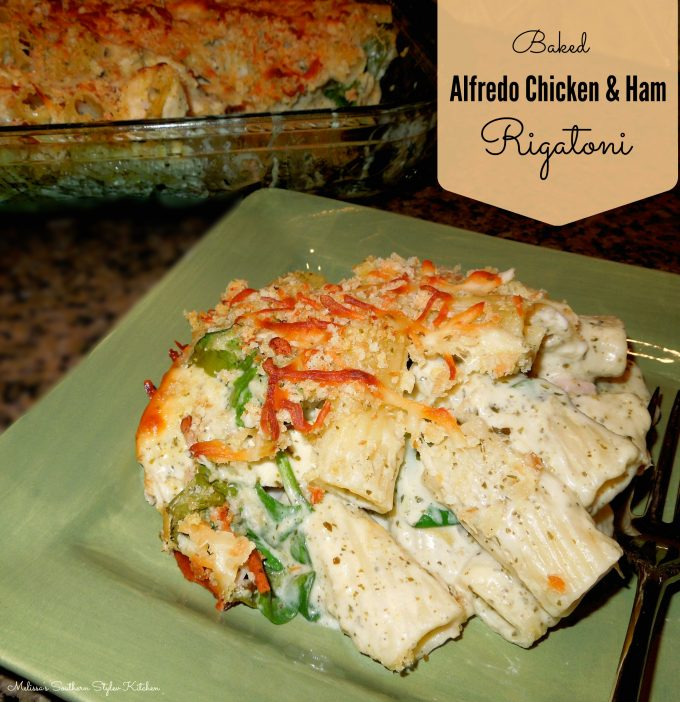 Baked Alfredo Chicken And Ham Rigatoni With Spinach And Artichokes