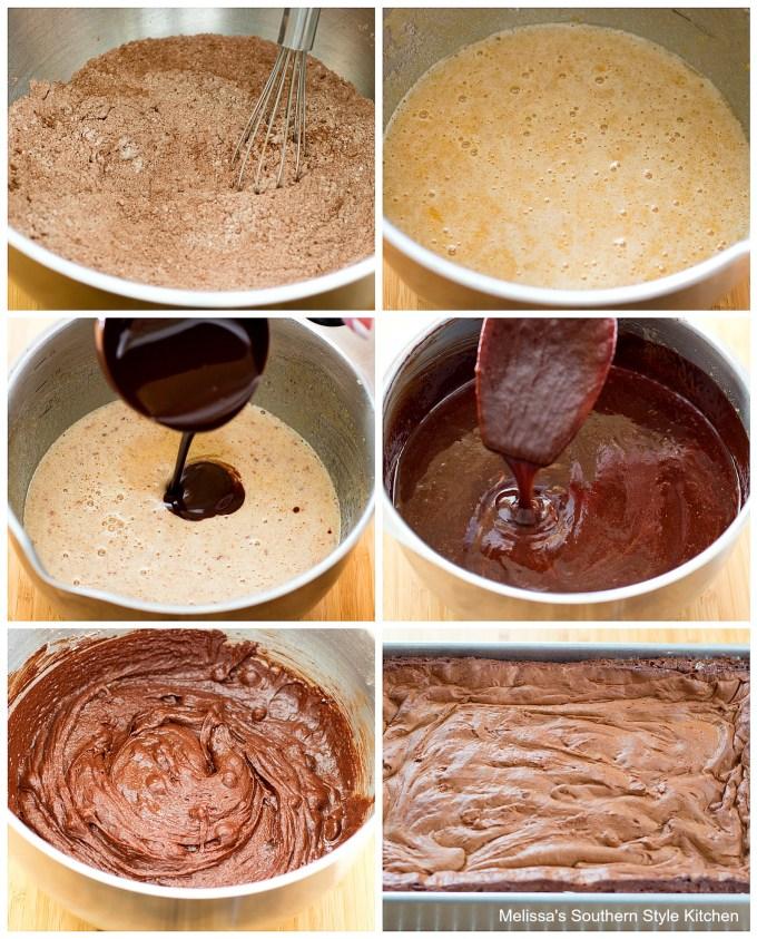 ingredients to make brownies in a mixing bowl