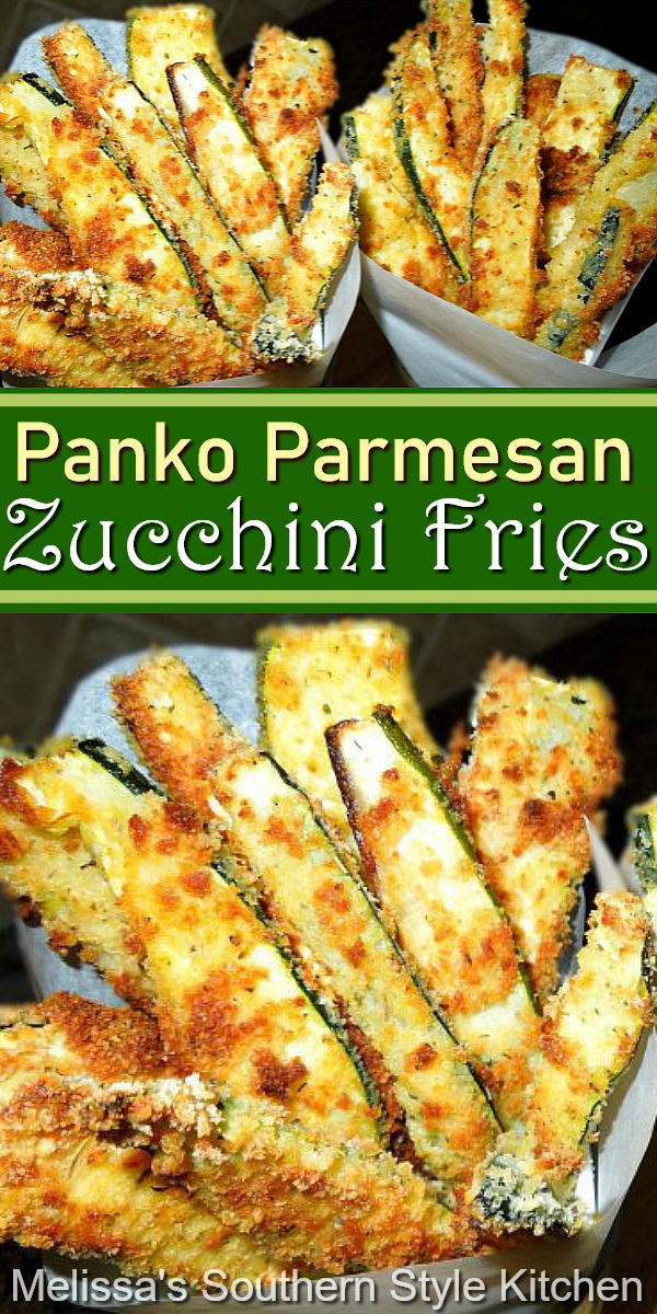 Make these amazing Panko Parmesan Crusted Zucchini Fries in the oven #zucchinifries #zucchinirecipes #ovenfrying #parmesanzucchini #sidedishrecipes #summerrecipes #southernrecipes #southernfood #zucchini #frenchfries
