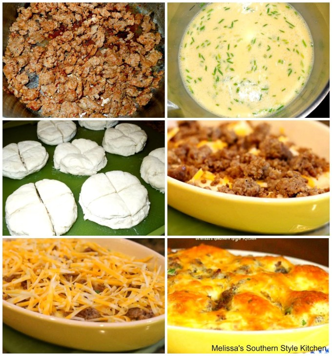 step-by-step images, eggs, sausage and biscuits for breakfast casserole