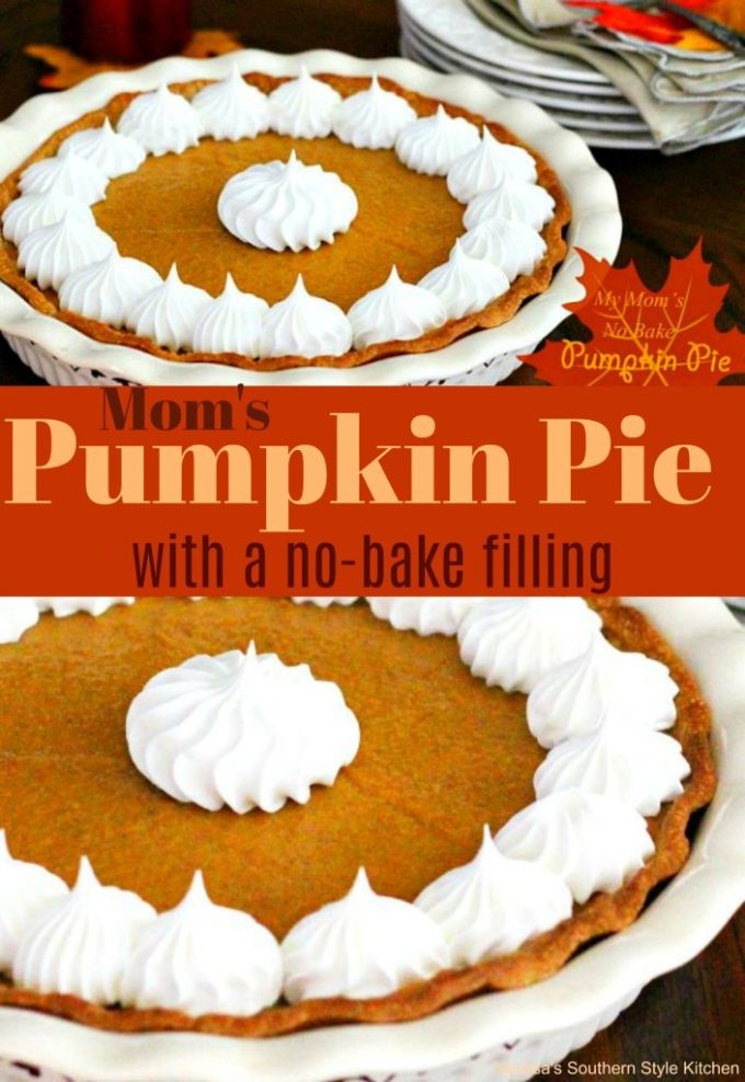 My Mom's No Bake Pumpkin And Sweet Potato Pie
