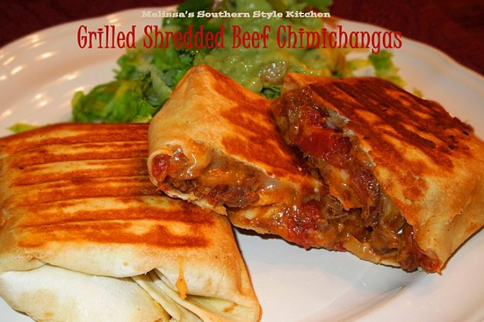 Grilled Shredded Beef Chimichangas on a plate