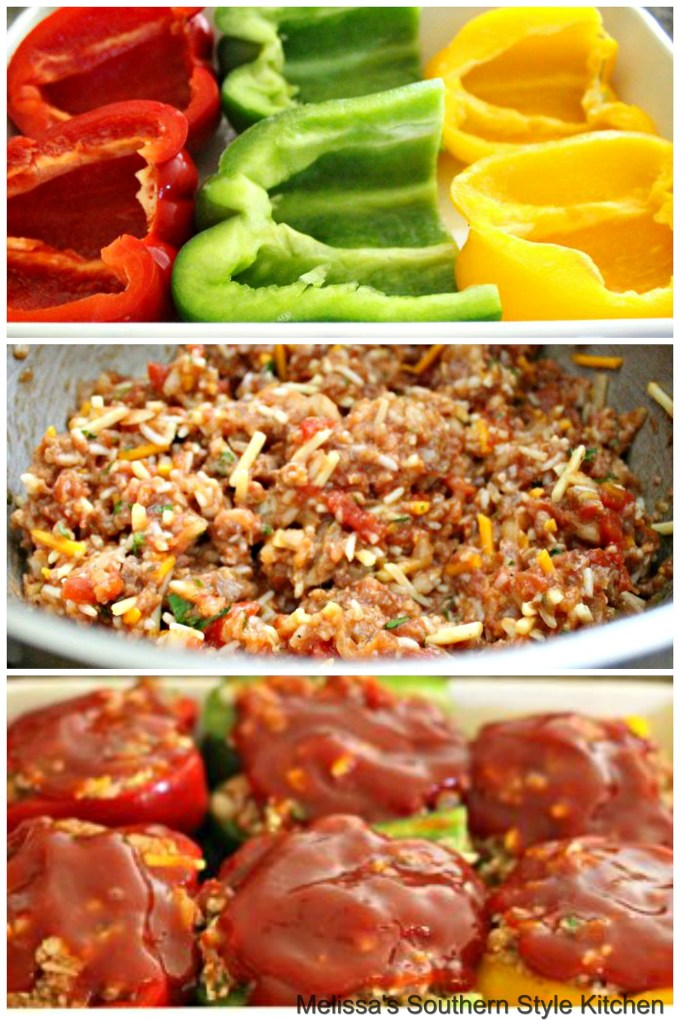 Step-by-step preparation images and ingredients to make stuffed peppers