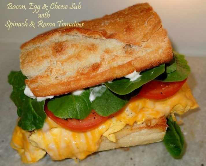 Bacon Egg And Cheese Sub With Spinach And Roma Tomatoes