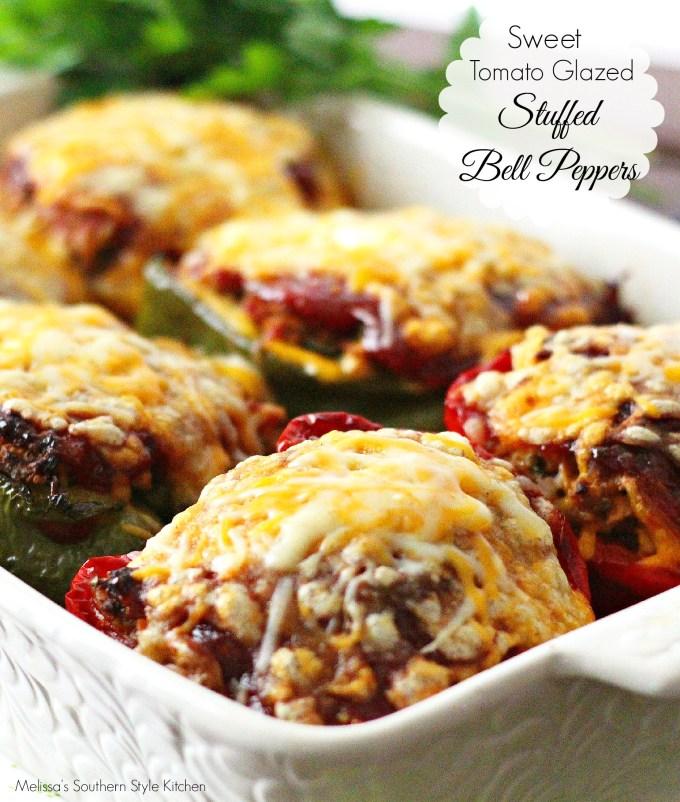 Baked Sweet Tomato Glazed Stuffed Bell Peppers