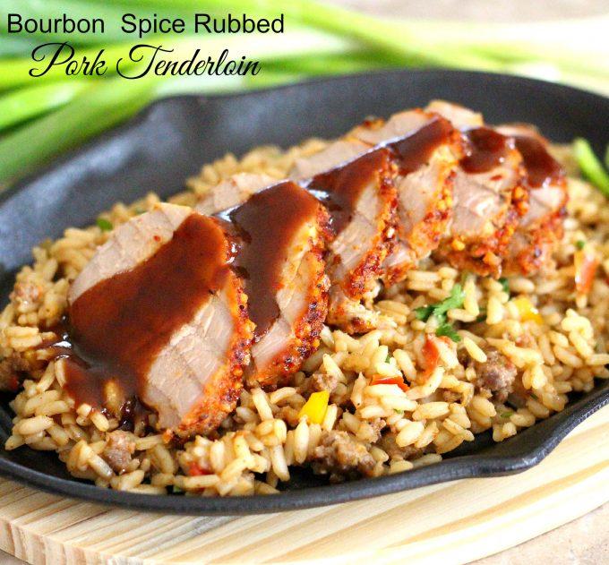 sliced pork tenderloin over dirty rice