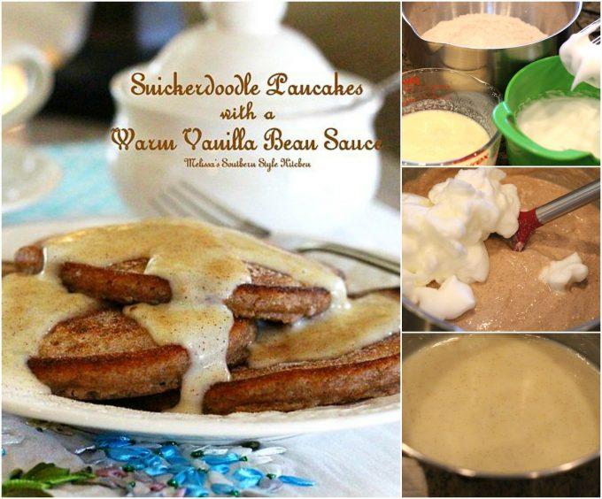 Snickerdoodle Pancakes With A Warm Vanilla Bean Sauce