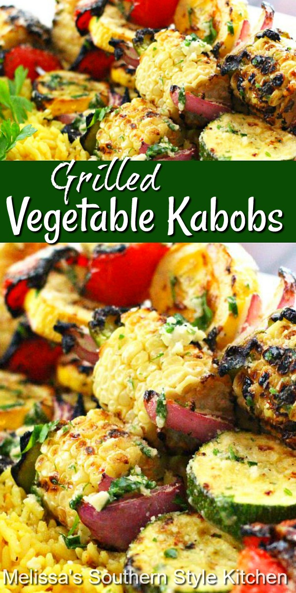 Farm to table flavors shine in these grilled vegetable kabobs brushed with a garlic herb butter #vegetables #vegetablekabobs #vegetarian #vegetablerecipes #southernfood #southernrecipes #corn #grilledcorn #kabobs #grilling #grilledvegetables #sidedishrecipes