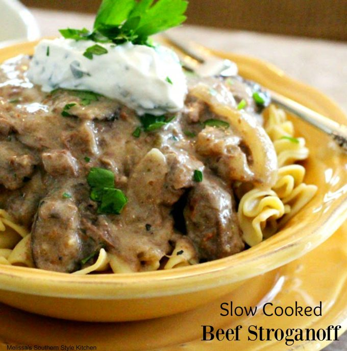 Slow Cooker Ground Beef Stroganoff Recipe: Slow Cooked Beef Stroganoff With A Horseradish Cream