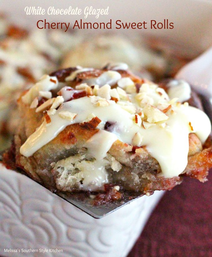 White Chocolate Glazed Cherry Almond Sweet Rolls