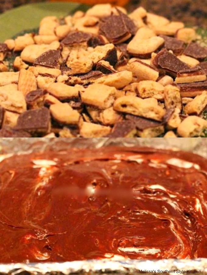 Ingredients to prepare s'mores fudge