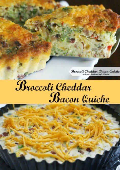 Broccoli Cheddar Bacon Quiche