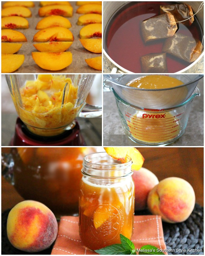 Step-by-step preparation images and ingredients to make fresh peach iced tea