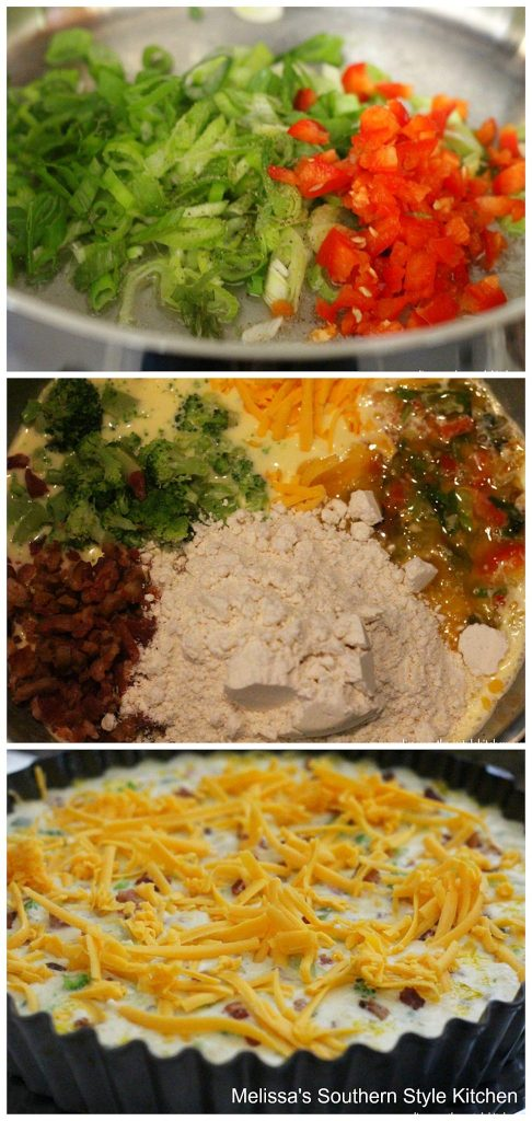 step-by-step quiche preparation images cheese vegetables in a skillet