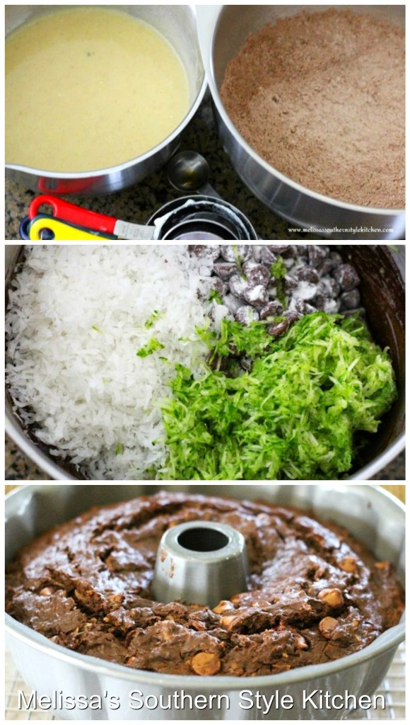 Step-by-step preparation images and ingredients for chocolate zucchini cake