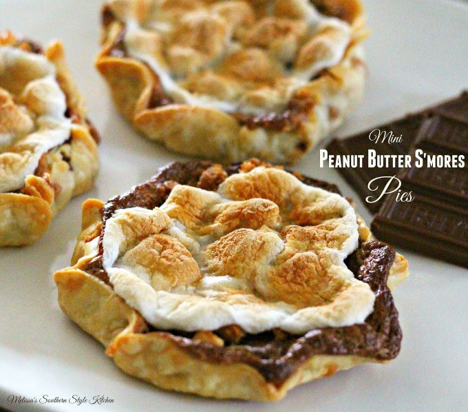 Mini Peanut Butter S'mores Pies on a platter