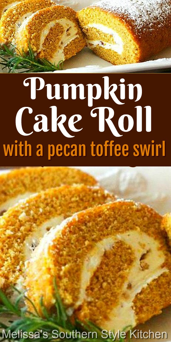 This scrumptious Pumpkin Cake Roll with a Pecan Toffee Swirl has toffee bits and toasted pecans tucked away in the swirl #pumpkinroll #pumpkincake #fallbaking #pumpkin #creamcheese #desserts #dessertfoodrecipes #thanksgiving #pecans #cakerecipes #cakes