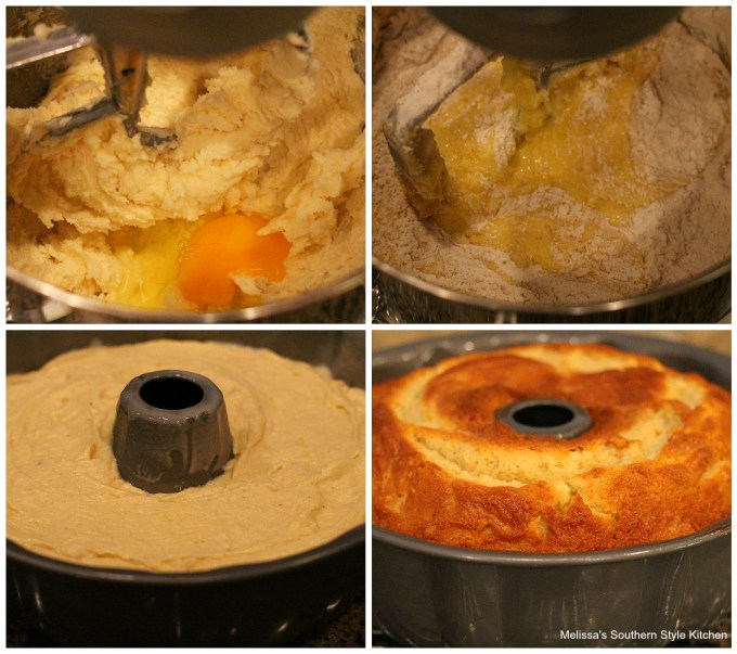 step-by-step preparation images flour eggs sugar in a mixing bowl