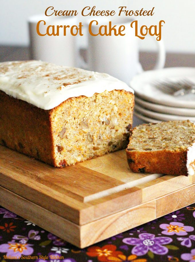 Cream Cheese Frosted Carrot Cake Loaf