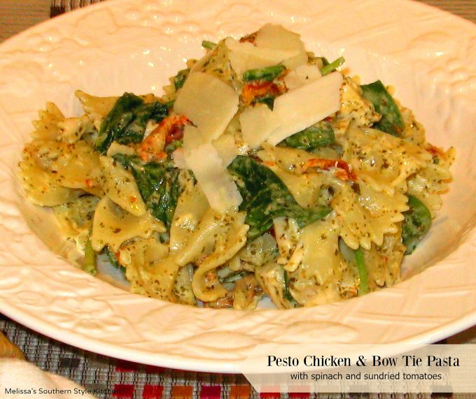 Pesto Chicken Bow Tie Pasta With Spinach And Sundried Tomatoes