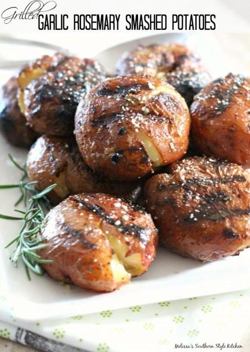 Grilled Garlic Rosemary Smashed Potatoes