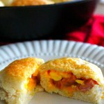 Stuffed Ham Egg And Cheese Biscuits in a skillet