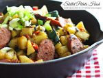 Skillet Potato Hash with Zucchini And Smoke Sausages