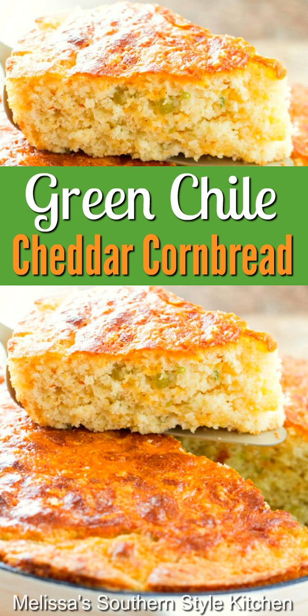 Add some spice to your cornbread menu with this Green Chile Cheddar Cornbread #greenchilecornbread #cheddarcornbread #cornbreadrecipes #cornbread #greenchiles #southernfood #breadrecipes #southernfood
