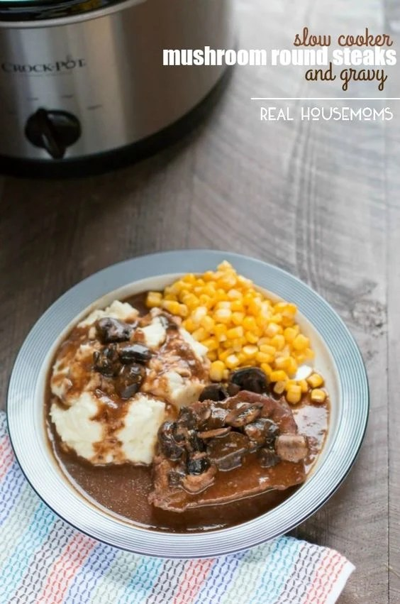 Slow Cooker Mushroom Round Steaks and Gravy