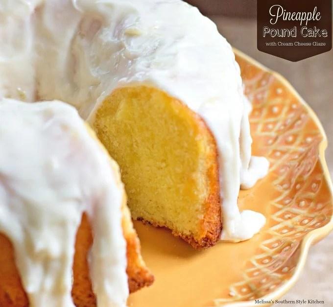 Pineapple Pound Cake With Cream Cheese Glaze