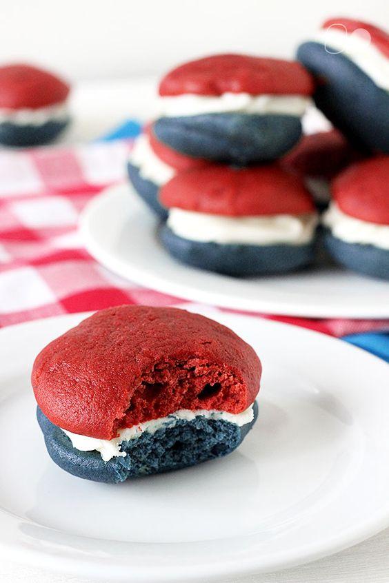 Red, White, + Blue Velvet Whoopie Pies