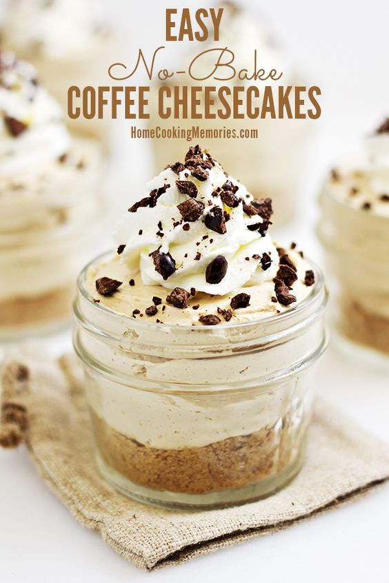 Easy No-Bake Coffee Cheesecakes