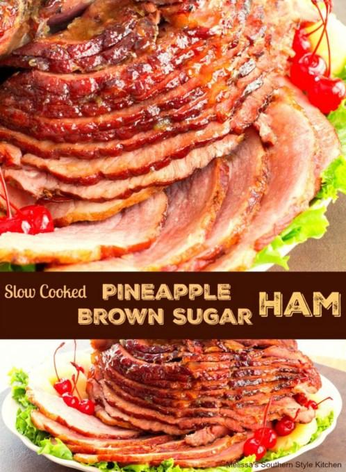 Slow Cooked Pineapple Brown Sugar Glazed Ham sliced on a platter