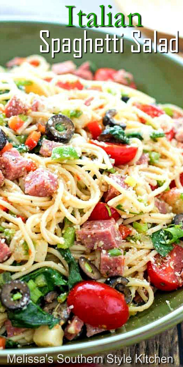 You can enjoy this Italian Spaghetti Salad as a side dish or an entree #spaghettisalad #spaghetti #salads #pastasalad #spaghettirecipes #Italian #dinnerideas #saladrecipes #dinner #southernfood #southernrecipes #sidedishrecipes