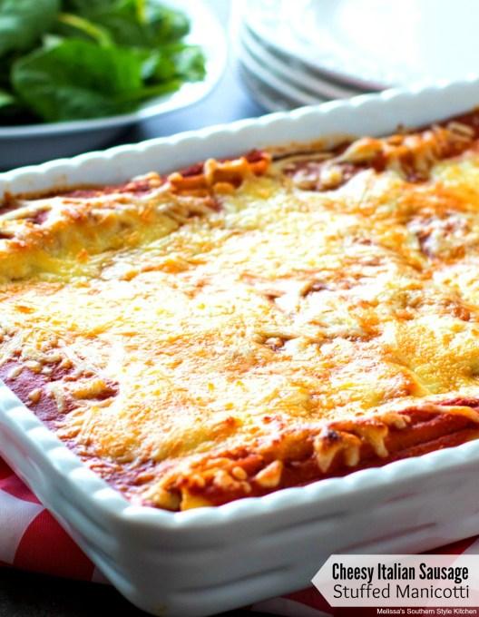 Cheesy Italian Sausage Stuffed Manicotti