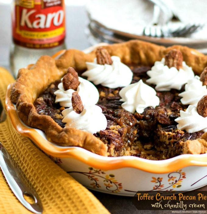 Toffee Crunch Pecan Pie with Chantilly Cream