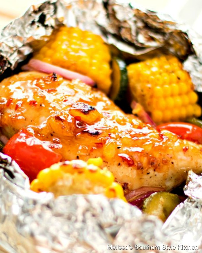 Chicken with vegetables in foil