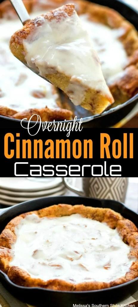 overnight cinnamon roll casserole in cast iron skillet
