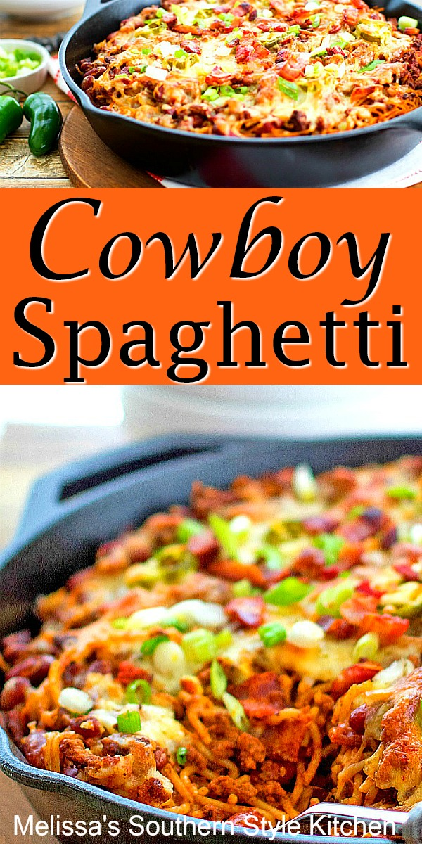 Bring the heat to dinner with this Cowboy Spaghetti #spaghetti #cowboyspaghetti #pasta #chili #dinner #dinnerideas #skilletmeals #southernfood #southernrecipes #groundbeefrecipes