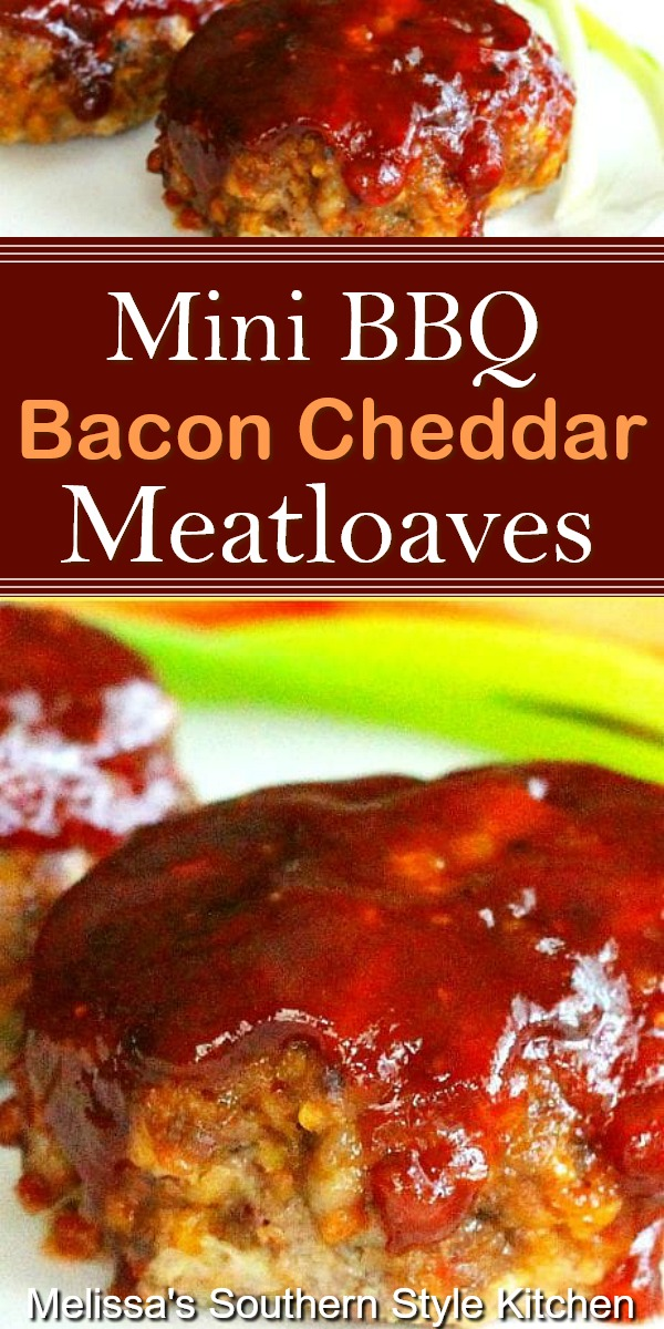 You can make these Mini Barbecue Bacon Cheddar Meatloaves for dinner any day of the week #meatloaf #barbecue #bacon #cheddarmeatloaf #dinnerideas #dinner #southernfood #southernrecipes