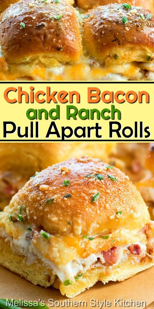 Enjoy these Chicken Bacon Ranch Pull Apart Rolls as an appetizer, casual meal and snacking #chickenbaconranchrolls #chicken #chickenbaconranchpullapartrolls #pullapartrolls #breadrecipes #rolls #easychickenrecipes #appetizers #dinner #dinnerideas #bacon #ranchdressing