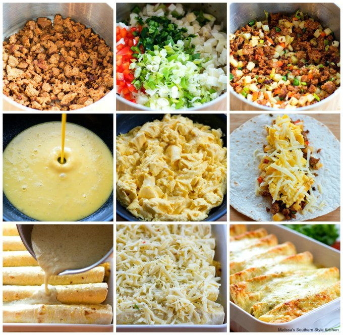 Step-by-step images how to prepare breakfast enchiladas