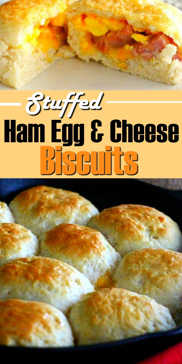 These made-from-scratch biscuits have a surprise hidden inside #stuffedbiscuits #southernbiscuits #buttermilkbiscuits #ham #eggs #brunch #breakfast #southernfood #southernrecipes #biscuits #holidaybrunch
