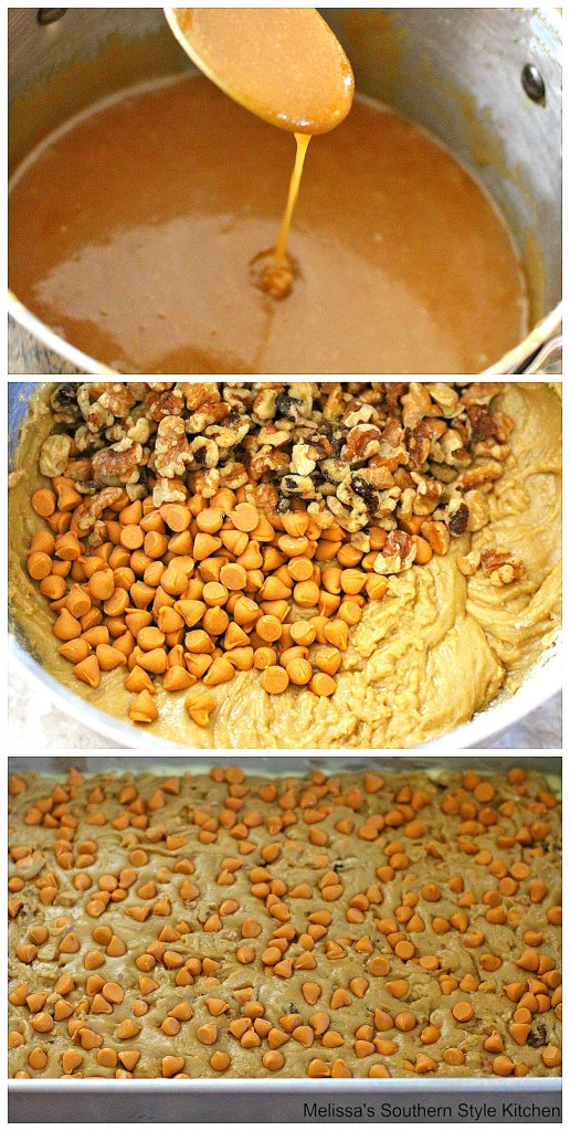 Step-by-step images of preparation of Butterscotch Brownies